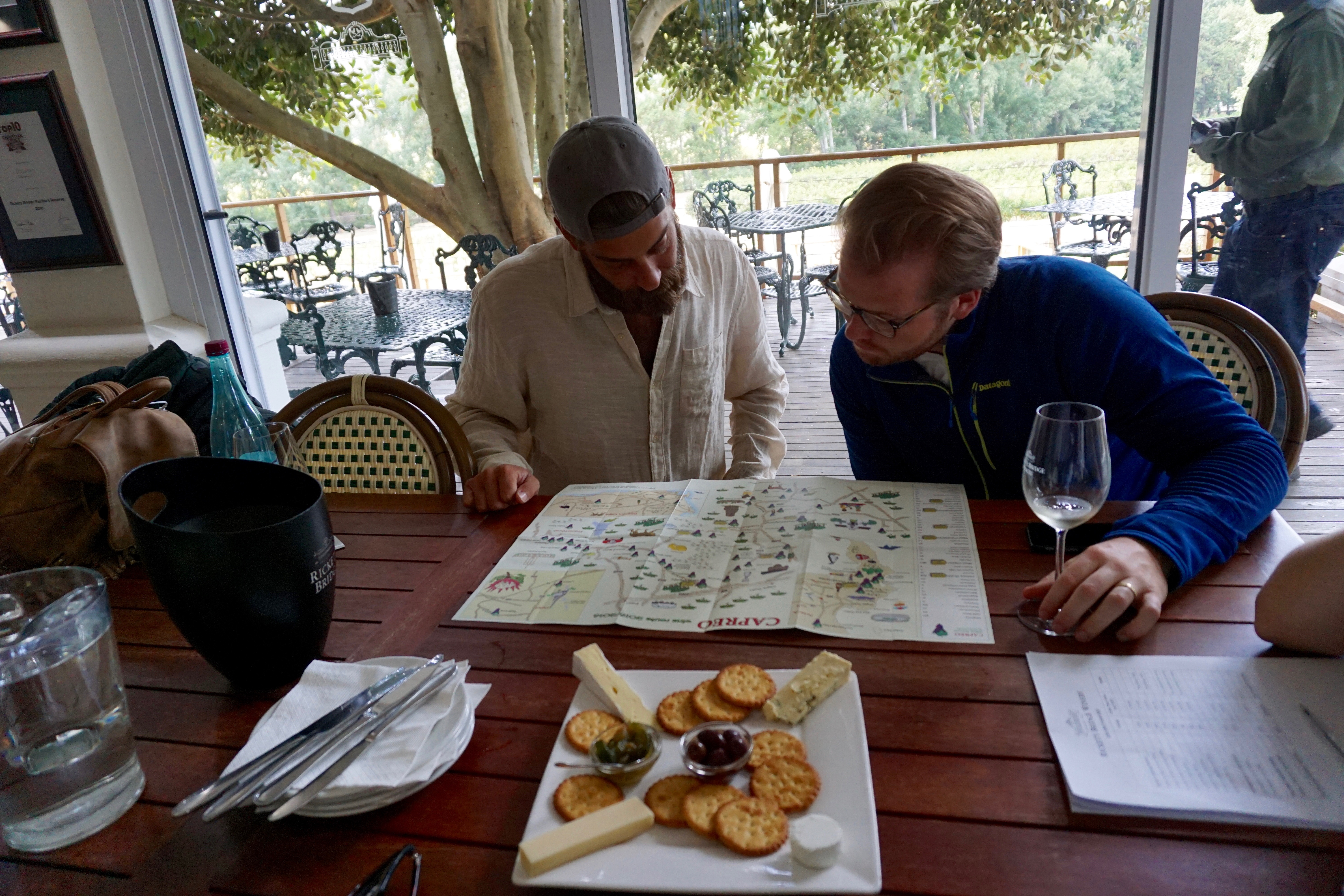 mapping out our day drinking wine tour path