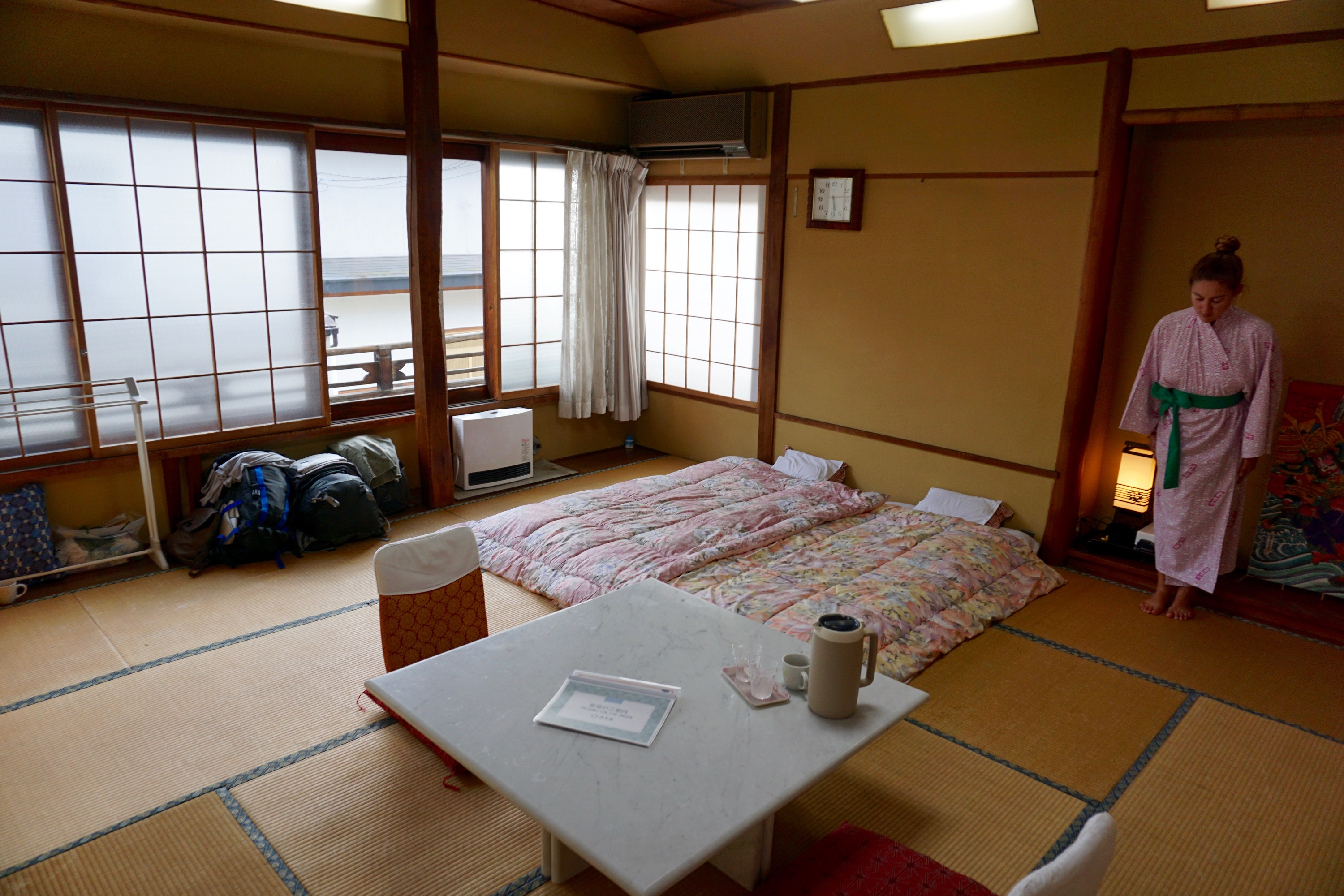 Laura in our traditional Ryokan bedroom!