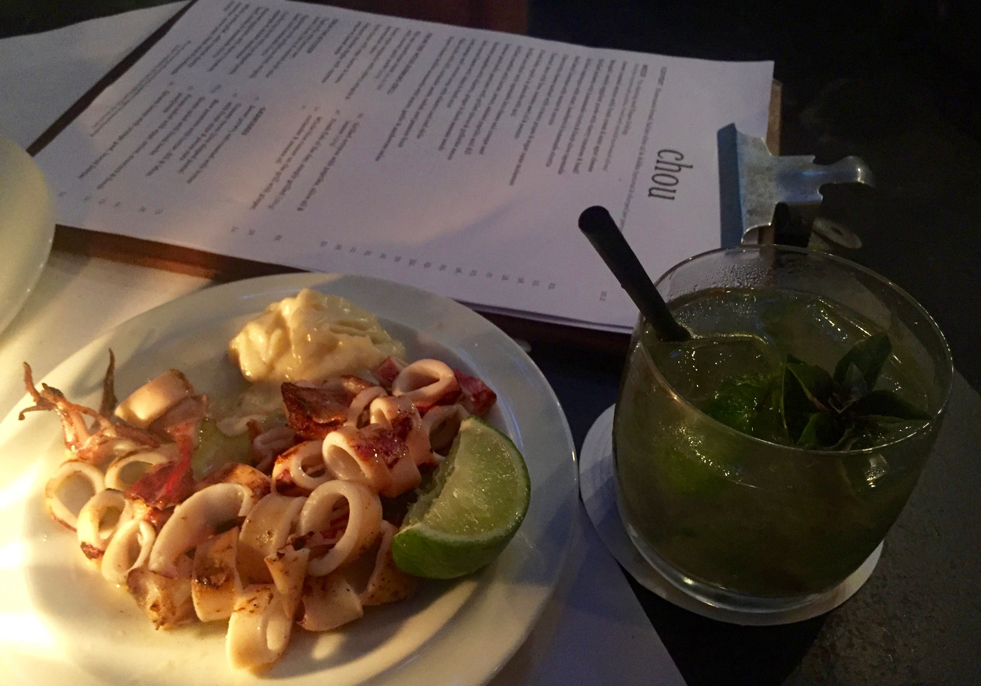 fresh baby squid a la plancha with aioli & a caipirinha