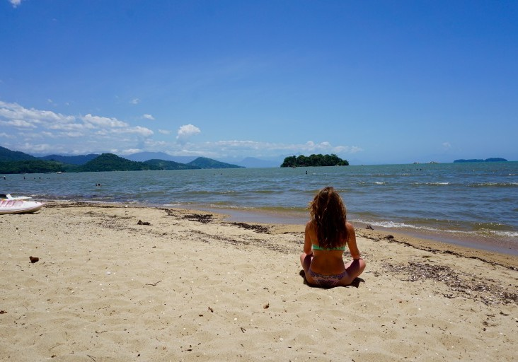 relaxing on the beach in Paraty, Rio